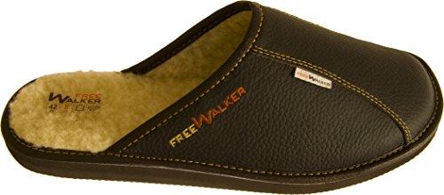 FreeWalker ® | Herren Hausschuhe Leder, 100% Schafwolle (44, Braun)