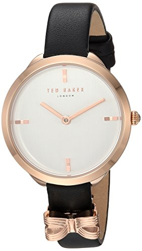 Ted Baker Women's 'ELANA' Quartz Stainless Steel and Leather Casual Watch, Color:Black (Model: TE15198002)