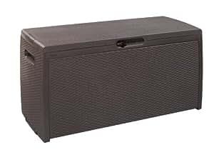 keter 17198356 kissenbox rattan style storage box kunststoff espresso braun garten. Black Bedroom Furniture Sets. Home Design Ideas