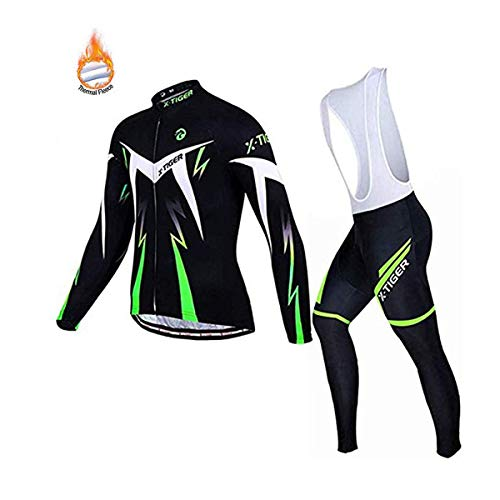 X-TIGER Herren Radsport Langarm Set Radtrikot mit 5D Gel Gepolsterte Trägerhose Herbst Winter Thermovlies Radsportbekleidung Anzüge (Green Winter Thermal Fleece Bib Set, Size L=EU M)