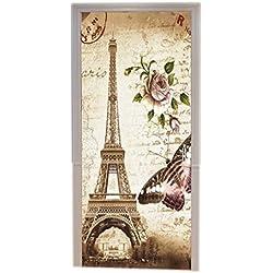 A.Monamour Stickers Muraux Arrière-Plans Marron Marbré Papillon Floral Vintage Paris Tour Eiffel Carte Postale avec Timbre Imprimer Vinyle Porte Autocollants Murales De Porte Autocollants Affiches