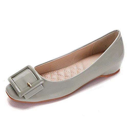 Bombas Calcanhar Do Desenhar Material Cinzento Baixo Senhoras Pé Dedo Sapatos Para fivela Quadrado Macio Aalardom nPfwT