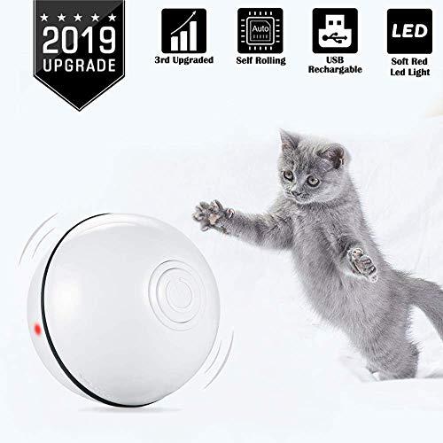 WLMall Giocattolo per Gatti Palla, Elettrica Gatto Palla (USB Ricaricabile) con Luce a LED Rotazione Automatica Interattivo Palla - Animali Domestici Esercizi Intrattenimento Giocattolo (Bianco)