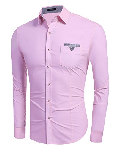 Hasuit Herren Hemd Baumwolle Slim Fit Langarm Farbekombination Basic Mode  Rosa ... 98a7f452c2