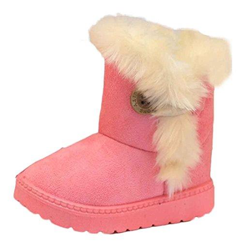 LCLrute Qualität Mode Winter Baby Mädchen Kind Schnee Stiefel Warm Schuhe (21, Rosa) (Manschette Wildleder-boot)