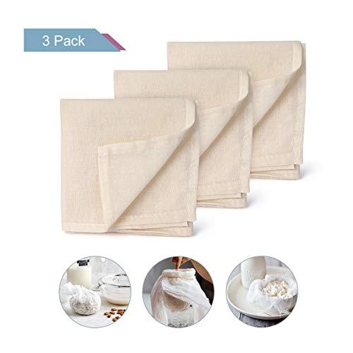 AIEVE Filter Cloth, 3er Set Cotton Cloth Filtertuch Baumwolle Tuch Käsetuch Siebtuch Passiertuch Wiederverwendbar für Nussmilch Obstsaft joghurt zur Käseherstellung(50 * 50 cm)