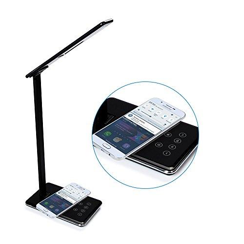 Xinxin-star Qi Wireless-Ladegerät, Schreibtischlampe Wireless Charging Lamp mit USB-Ladeanschluss, Touch-Steuerung, 4 Farbmodi, Nachtlicht (Schwarz) (Kompatible Uv-lampe)