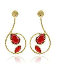 The Bohemian Gold-Plated Dangle & Drop Earring For Women Red- E2605-296 (red)