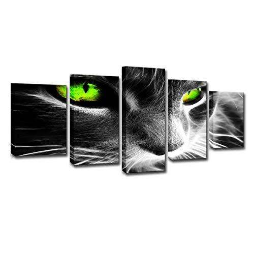 SGKHZ Leinwand Wandkunst, Poster HD Drucke Malerei, 5 Panel Tier Green Eye Cat Modulare Bilder für Wohnzimmer Wohnkultur,Frame,XL