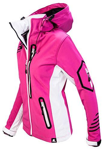 Rock Creek Damen Softshell Jacke Windbreaker Regenjacke Übergangsjacke Softshelljacke Damenjacke Regenmantel Outdoorjacke Kapuze D-402 Pink XS - 2