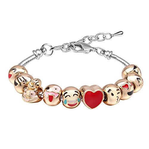 Bracelet Fille MANBARA Bracelet en Perles Bracelet Emoji Charmant Pour Les enfants Longueur Réglable Coeurs en émail Coeur Cadeaux Bijoux Anniversaire Noël DIY