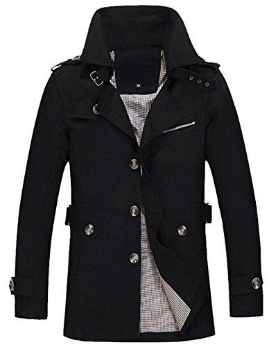 OUYE Herren Freitzeit Trench Coat Winbreaker Jacken Oberbekleidung Large Klassisches Schwarz (Trench Coats Männer)