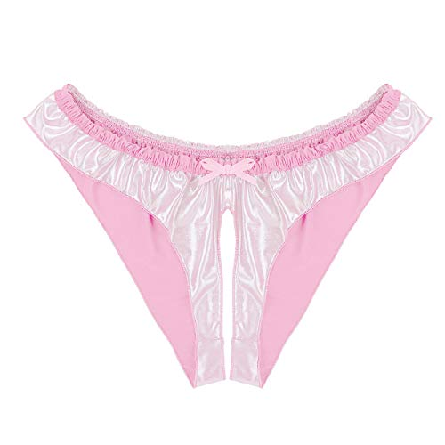 Agoky Herren Satin Ouvert-Slips Wetlook Sissy Höschen Bikini Briefs High Cut Thong Schlüpfer reizvolle Unterwäsche Männer Erotik Dessous Reizwsche Rosa XL(Taille 86-136cm)