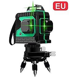 Cross Line Laser 3D 12 Ligne de laser 3x360 Traverse horizontale et verticale Ligne de faisceau laser verte ultra-puissante Niveau de laser autonivelant Niveau de travail de 25m Pivot magnétique