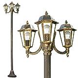 Lampadaire Natal en aluminium noir et or de 210 cm de haut, trois lanternes en verre pour ampoules E27 max 60 Watt, compatible ampoules LED