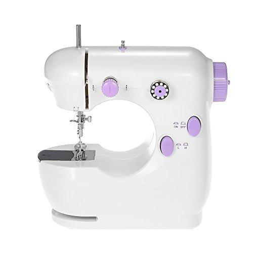 Decdeal Mini Machine à Coudre Multifonctionnel Domestique Electrique Réglable Haute /Basse Vitesse avec Pédale LED Light