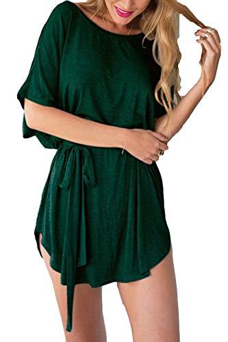 YOINS Femmes Robe Courte Sexy Dress Chic Mini Robe Été Décontractée Chemise Robe Manches Courtes Col Rond Ceinture-Vert EU 46