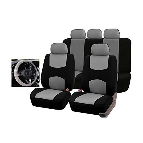 GODGETS Coprisedili Auto Universali Set Completo con Copri Volante - Coprisedili per Auto Anteriori e Posteriori - 4 Colori Disponibili,Nero Grigio,5 * Posti + 1 * Coprivolant