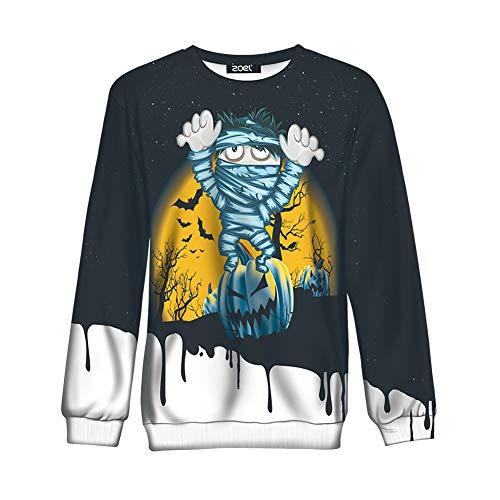 MAIMOMO Frauen Männer Halloween Langärmelige Pullover Lustig Hocken Langärmeligen Pullover Kleidung Harajuku Stil Kürbis Auf Mama Wy1641, Farbe, L