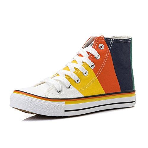 Damen Bunte Canvas Schuhe Mehrfarbige Streifen Zeichnung Anti-Rutsche Gummi Sohle Tragene Freizeitschuhe Black White
