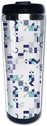 EJUNLEKEJI Kaffeebecher Art Deco Inspired Pattern 14oz Insulated Stainless Steel Travel Camping Mug for Beer Cocktails Coffee Tea with Splash-Proof Lid for Men Women Fun Gift