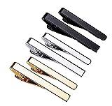 Pinces à cravate,6 Pièces Pince à Cravate pour Homme Cravate Bar Clips Set pour Les Pinces d'affaires de Mariage Pince à Cravate Skinny