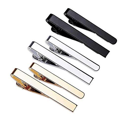 Fermacravatta da Uomo6 Pezzi Spille Cravatta Classici da UomoNeroArgento e Oro per Fermagli da LavoroFermacravatta