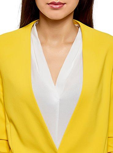 oodji Ultra Damen Taillierter Blazer mit 3/4-Arm Gelb (5100N)