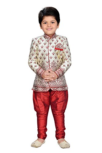AJ Dezines kids festive and party wear Sherwani for boys (816_MAROON_3)