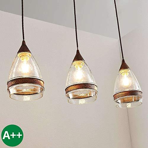 Lampenwelt Pendelleuchte \'Millina\' dimmbar (Retro, Vintage, Antik) in Braun aus Glas u.a. für Küche (3 flammig, E27, A++) - Deckenlampe, Esstischlampe, Hängelampe, Hängeleuchte, Küchenleuchte