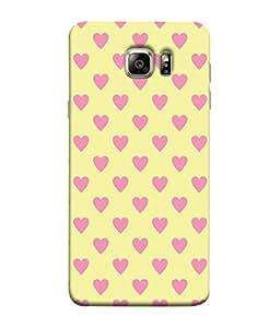 PrintVisa Designer Back Case Cover for Samsung Galaxy S6 Edge :: Samsung Galaxy S6 Edge G925 :: Samsung Galaxy S6 Edge G925I G9250 G925A G925F G925Fq G925K G925L G925S G925T (Pink Hearts With Crème Background)