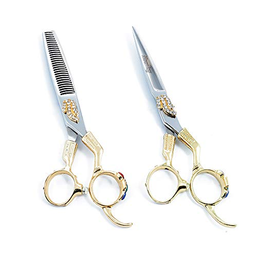 Hairdressing tijeras de pelo conjunto europeo retro de alta calidad de acero inoxidable corte tijeras y tijeras de adelgazamiento para salón, Barberos o casa 6,0 pulgadas-oro