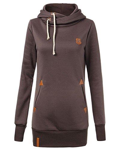 Asymétrique Épais Chaud Sweat à Capuche Hoodie Coton Sweatshirt Sweat-Shirt Haut Top With Cuir Faux Badges Café