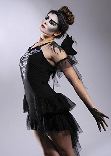 Damen Gothic Ballerina Schwarz Schwan Stil Kostüm Small (UK 8-10) (Erstaunlich Halloween Kostüme Uk)