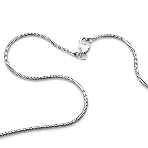 Schlangenkette 925 Silber Rhodiniert Breite 1,20mm Flexibel Halskette Collier Damenkette NEU (31442012) (38 Zentimeter)