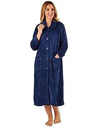 Slenderella HC2301 Womens Navy Blue Robe Long Sleeve Dressing Gown