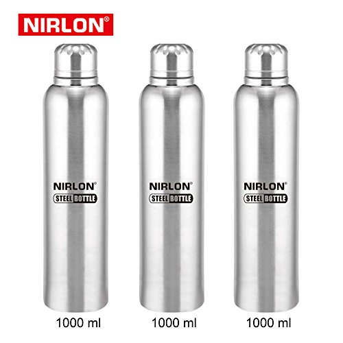 Eco-Friendly Wide Mouth 1000ML Stainless Steel Reusable Water Bottle Durable Single Wall Insulation Pack of 3 Pieces