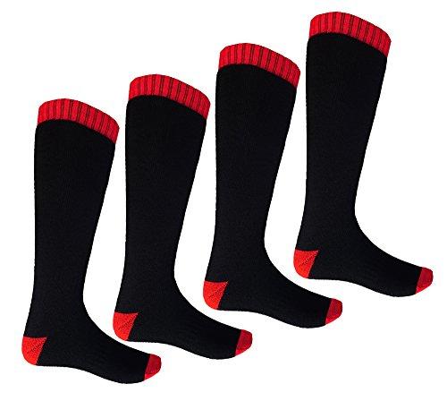 i-Smalls Chaussettes de Ski Double pour Hommes a Grande Taille, 4 Paires, Double Noire, UK 11-13, EUR 45-47.5