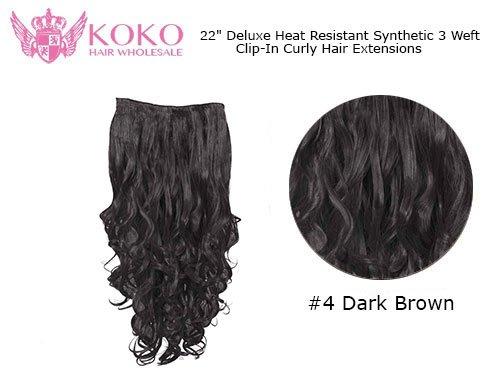 La chaleur de luxe résistant à 3 Trame Clip-In Extensions de cheveux bouclés - 22\\