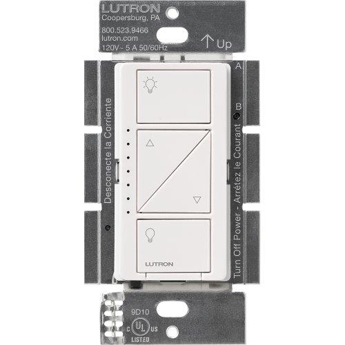 Lutron pd-6wcl-wh integriertem Dimmer weiß Dimmer–Regulierungsbehörden (Dimmer, Eingebaut, Knöpfe, Weiß, 434mhz, 600W) (Beleuchtung Lutron)