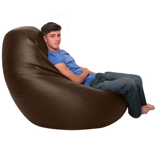 WHOPPER GIANT Bean Bag - BROWN Faux Leather Bean Bag Chair - XXXL Seriously Man Size Bean Bags!