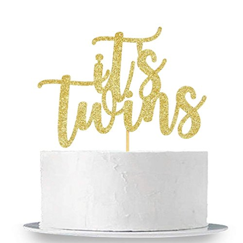 (innodu IT 'S Twins Tortenaufsatz Gold Glitzer Baby Dusche Happy 1st Birthday Cake Topper Dekorationen Supplies)