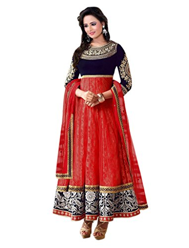 1 Stop Fashion Red & Blue Semi-Stitched Velvet & Net Salwar Suit  available at amazon for Rs.779
