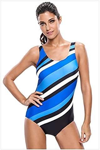 WJS-Vêtements pour dames un morceau de coutures avec rayures diagonales bra élastique maillot étroitement ajusté triangle,bande de couleur,s