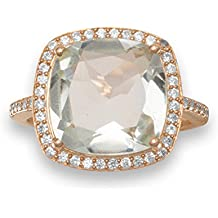 Plata de Ley Chapado en oro rosa anillo 15mm cuadrado facetado verde Amatista Rodeado por CZs–tamaño V