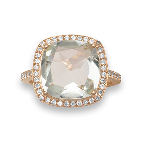 Sterling Silber Ring 12mm quadratisch facettierte Rubin umgeben von Zirkonia 1,5mm breit–Größe H