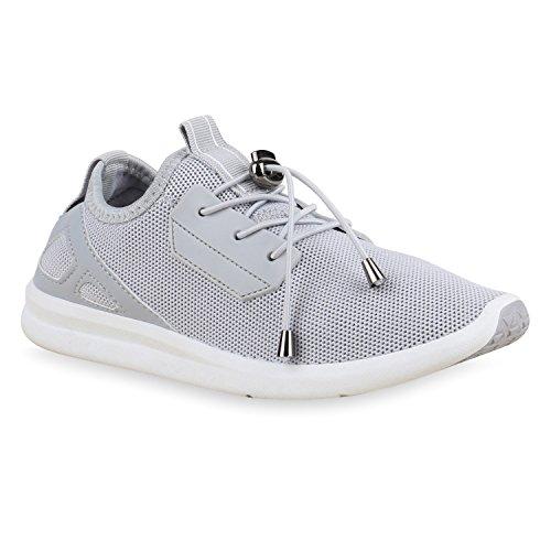 Damen Laufschuhe Runners Pastell Sneakers Sportschuhe Hellgrau