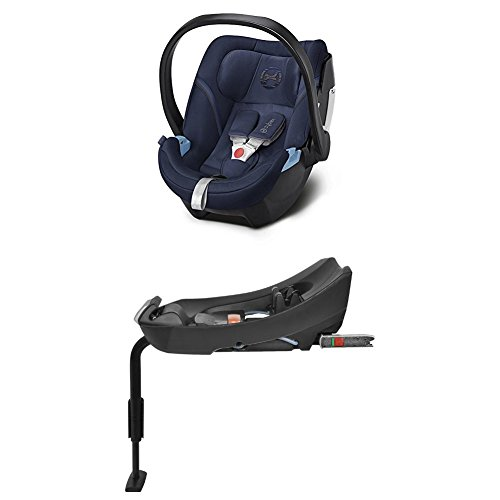 Cybex Gold Aton 5, Autositz Gruppe 0+ (0-13 kg), Kollektion 2018, denim blue + Basisstation Aton Base 2-fix, Gruppe 0+ (0-13 kg), black