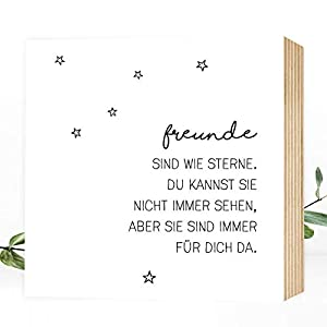 Freunde sind wie Sterne - einzigartiges Holzbild 15x15x2cm zum Hinstellen/Aufhängen, echter Fotodruck mit Spruch auf Holz - schwarz-weißes Wand-Bild Aufsteller zur Dekoration oder als Geschenk