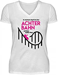 897963ca7d01 Shirtee Hochwertiges V-Neck Damenshirt - Achterbahn - Gefühle Außer Plan -  Helene